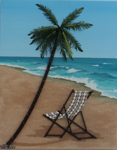 Deckchair and palm tree