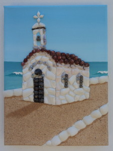 seashell mosaic of traditional little Cretan chapel