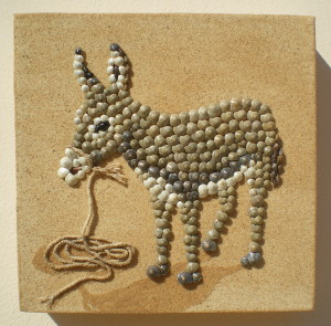 Seashell mosaic donkey
