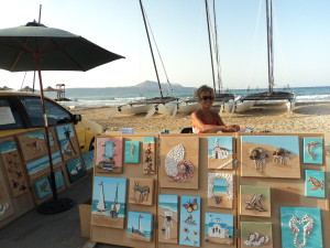 Selling on the beach in Almyrida