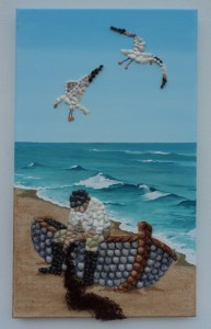 Seashell Mosaic of Fisherman Mending his Net - 30 x 50cms