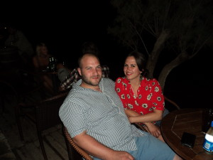 Zoe and Rich at Nikita's Taverna in ALmyrida