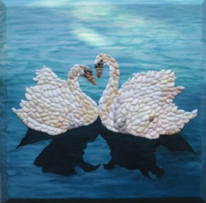 Seashell Mosaic of Heart Swans