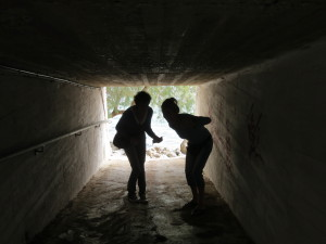 Lisa and I in the tunnel leading to the cove