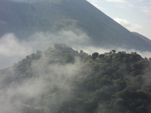 Ruined Castle, shrouded in cloud at Askifou