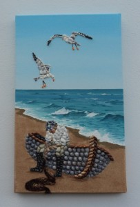 Fisherman & Seagulls Mosaic using mixed media - 30 x 50cms