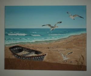Seashell Mosaic 40 x 50cms - 'Boat & Seagulls at Elafonisi