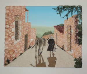 New Design - Seashell Mosaic - 40 x 50cms - 'Old Greek Lady with her Donkey'