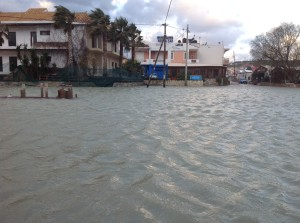 The centre of Almyrida - totally flooded!