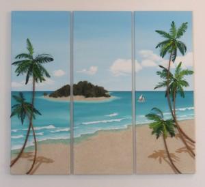 A Caribbean Beach Scene - 3 Panels - 27 x 75cms each