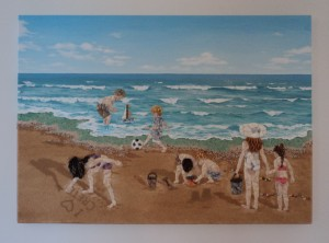Commissioned Seashell Mosaic and Collage by Michaela Raeburn - 50x70cms