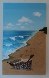 Rowboat Seashell Mosaic/Collage - 30x50cms