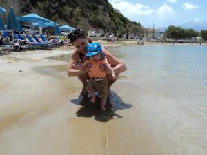 Emma and Ralph on Almyrida Beach