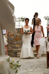 Emma and I - at the start of our walk down the aisle