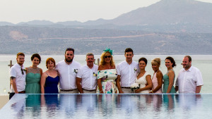 Group photo by the infinity pool on the Rooftop Garden of the Almyrida Residence Hotel
