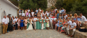 Group photo of everyone after the ceremony at St George's Chapel in Kokkino Chorio