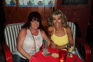 Fran and I enjoying a nightcap at Captain Jack's
