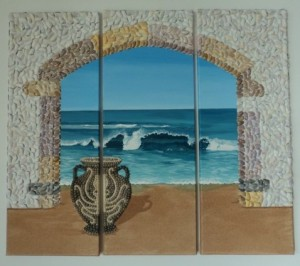 Seashell Mosai -Large triptych of Greek Archway & Urn - each panel 80x30cms