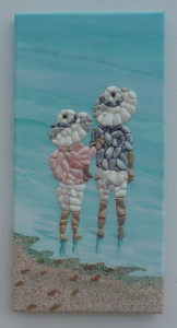 Seashell Mosaic - Children in Sun Hats - 20x40cms