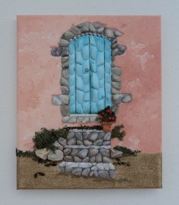 Seashell Mosaic - Greek Blue Door - 25x30cms