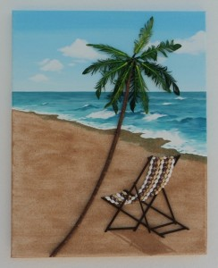 Deckchair under a Palm Tree Seashell Mosaic Collage - 50 x 40cms