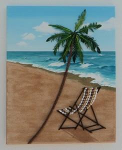 Deckchair under a Palm Tree Seashell Mosaic Collage - 50 x 40cms