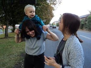 Ralph on Zoe's shoulders