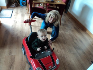 Playing with Ralph in his new Mini Cooper!
