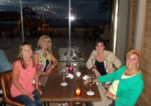 Enjoying a meal and wine at Javea beach promenade