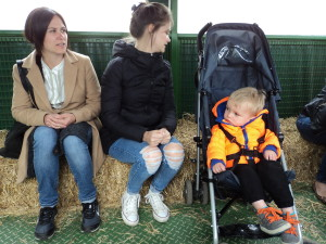 Zoe, Emma & Ralph on the tractor ride to the farm