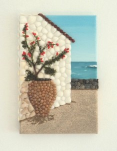 Seashell Mosaic Collage of a Bougainvillea and Large Greek Urn - 20x30cms