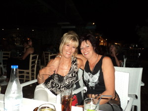 Lisa and I at Nikita's in Almyrida