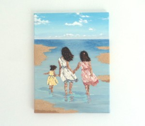 3 Granddaughters in Seashell Mosaic 40 x 30cms