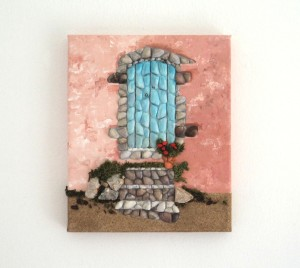 Greek Blue Door & Steps in Seashell Mosaic Collage - 25 x 30cms