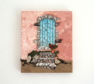 Greek Blue Door & Steps in Seashell Mosaic Collage - 25 x 30cms