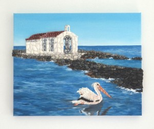 Georgioupoli Chapel, Acrylic Painting & Seashell Mosaic Collage - 40 x 50cms