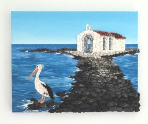 Georgioupoli Chapel, Acrylic Painting & Seashell Mosaic Collage, 40 x 50cms