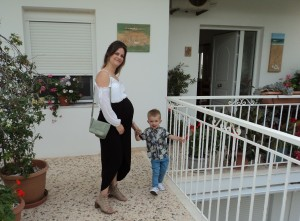 Emma & Ralph outside my house, before leaving for dinner in Almyrida