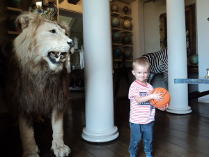 At Aynhoe Park - Ralph with the Lion he was slightly dubious of!