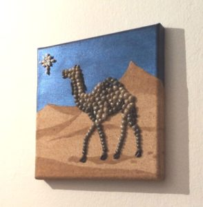Christmas Camel! Seashell Mosaic Collage on Sand - 20 x 20cms
