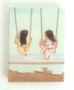 Seashell Mosaic Collage - Girls on Swings - 18 x 24cms
