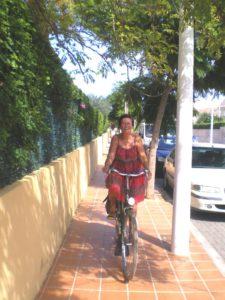 Spain 2010 - Riding her bike!