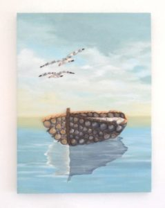 Fishing Boat & Seagulls in Seashell Mosaic - 30 x 40cms - Available to purchase from my Etsy shop.