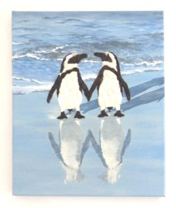 Penguins in Seashell Mosaic