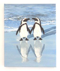 Penguins in Seashell Mosaic