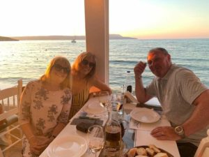Eating out at Psaros with Jill & Rick on their last night.