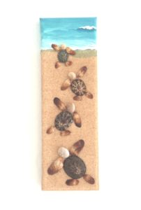 Seashell Mosaic Collage of Baby Turtles race to the sea - 10 x 30cms Still my most popular design!