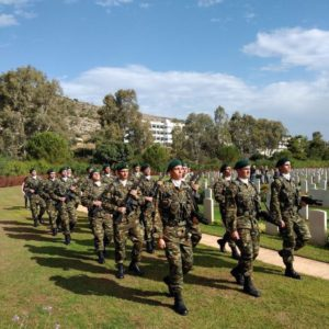 At the Souda War Cemetery - Soldiers parading during the Remebrance Sunday Memorial