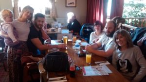 All of us, except Ralph, out for a late pub lunch near Bury St Edmunds.