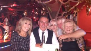 With Ray, Karen, John & Chrissie at the New Year's Eve Party at Captain Jack's in Almyrida.
